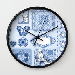 Kitty in a Blue Shoe Wall Clock