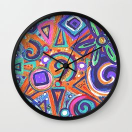 Geometric Flower Abstract Painting Wall Clock