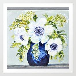 Anemones in vase Art Print