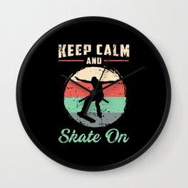 Skater Skateboard Keep Calm Skating Gift Idea Wall Clock