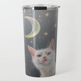 White cat at night Travel Mug