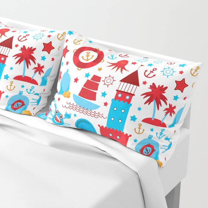 pattern with sea icons on white background. Seamless pattern. Red and blue Pillow Sham