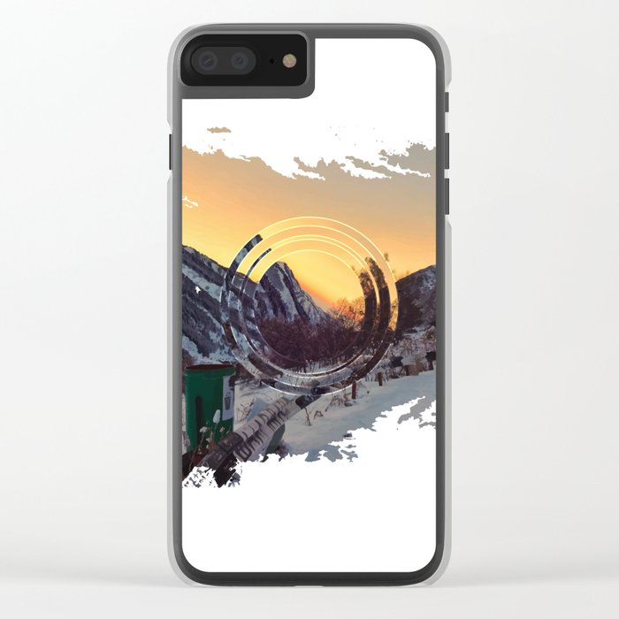 Mountains sunset Clear iPhone Case