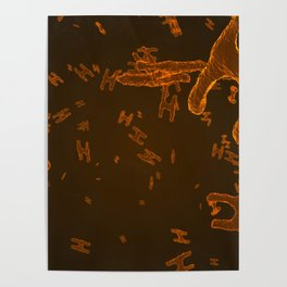 Abstract orange virus cells Poster