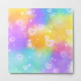 Colorful Art Design with Neon Hearts Ver.9 Metal Print