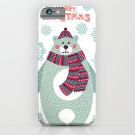 Cute bear with snowflakes iPhone Case
