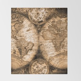 World Map Antique Vintage Maps Throw Blanket