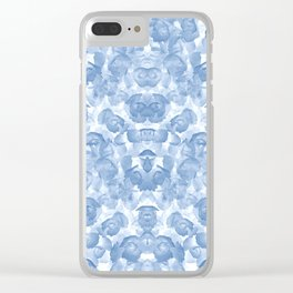 Blue Floral Seamless Pattern Clear iPhone Case