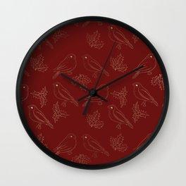 Christmas red gold foil ivy cute robin bird Wall Clock