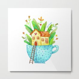 Stay Home / Cup House Metal Print