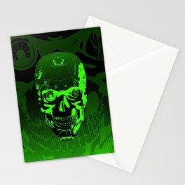 Gamer Skull CARTOON GREEN / 3D render of cyborg head Stationery Cards