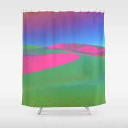 Psychedelic Sand Dunes - Pink Green Blue Shower Curtain
