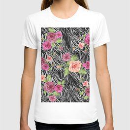 Zebra and Roses T-shirt