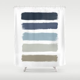Blue & Taupe Stripes Shower Curtain