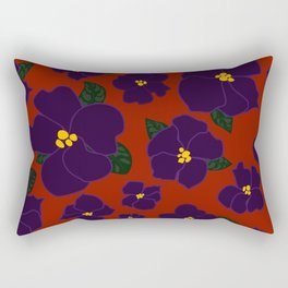 African Violets on red Rectangular Pillow