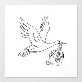 Stork Delivering Money Bag Drawing Canvas Print