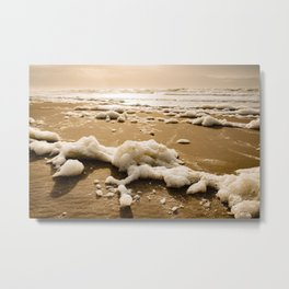 Yellow Sunset Colorful Beach Photography - Framed Art Canvas Print Metal Print