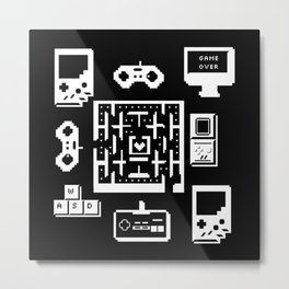 Geek Gamer Pattern Metal Print