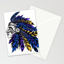 American Native Chieftain Head Stationery Cards
