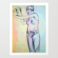 model Art Prints featuring Model  by LinnaDesign