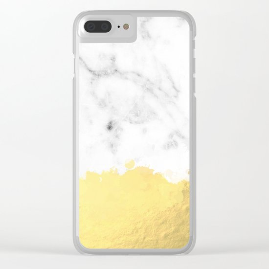 Gold spill on marble Clear iPhone Case