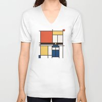 mondrian V-neck T-shirts featuring Mondrian Who by Perdita