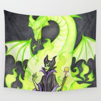 maleficent Wall Tapestries featuring Maleficent by Laurdione