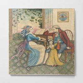 Classical Musical Family Illustration Metal Print