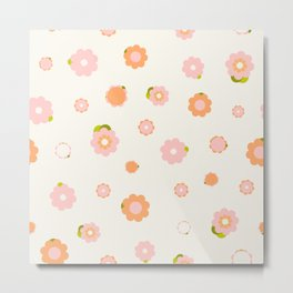 Sweet pink and orange flowers over beige Metal Print