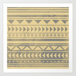 Ethnic geometric pattern with triangles circles and lines Art Print