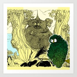 Leaf Owl & The Cuddling Koalas. Art Print