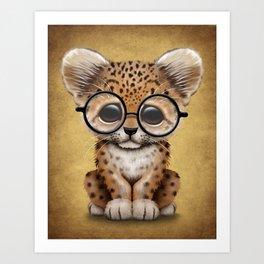 Cute Baby Leopard Cub Wearing Glasses on Yellow Art Print