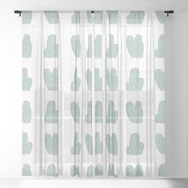 Green Cactus Pattern Sheer Curtain