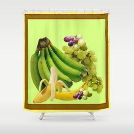 YELLOW-GREEN BANANAS GREEN GRAPES ART DESIGN Shower Curtain