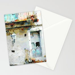 Street lamp between two windows Stationery Cards