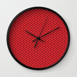 Little Hearts Black on Red Wall Clock