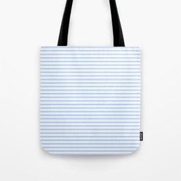 Mattress Ticking Narrow Horizontal Stripe in Pale Blue and White Tote Bag