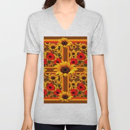 RED POPPIES YELLOW SUNFLOWERS BROWN PATTERN ART Unisex V-Neck