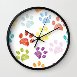 Colorful colored paw print background Wall Clock