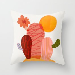 Abstraction_Cactus_&_Sun Throw Pillow