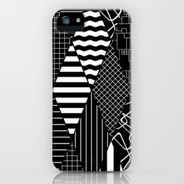 Black and White Diamond Collage Pattern iPhone Case