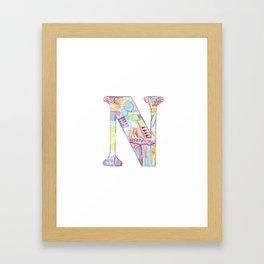 Letter N - Watercolor Monogram - Colorful Lettering - Watercolor Letter Print - Watercolor Initial Framed Art Print