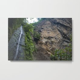 Thin Waterfall Cascading in the Rainforest of the Chocoyero-El Brujo Nature Reserve in Nicaragua Metal Print