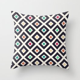 Modern Trendy Geometric Patter in Fresh Vintage Coffee Style Colors Throw Pillow