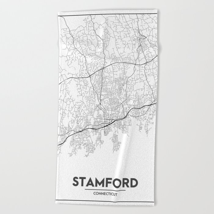 Minimal City Maps - Map Of Stamford, Connecticut, United States Beach Towel  by valsymot