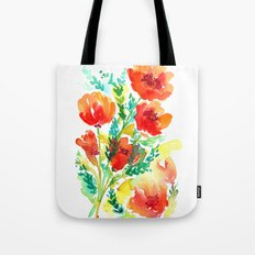 Orange Flowers Watercolor Tote Bag