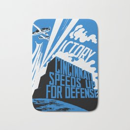 Cincinnati Speeds Up For Defense -- WW2 Poster Bath Mat