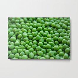 Green peas veggie pattern Metal Print