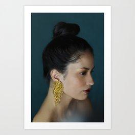 Woman with golden earring Art Print