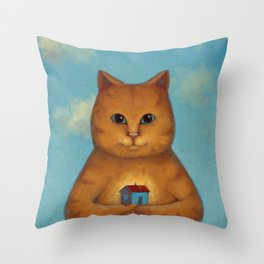 Every Cat need a Home. Ginger Cat Illustration Throw Pillow